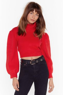 Rollin' With It Turtleneck Puff Sleeve Sweater - Red