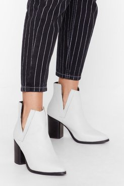 V Will Rock You Leather Heeled Boots - White