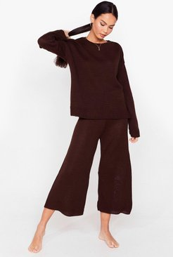 You've Met Your Match Knitted Sweater and Pants - Chocolate