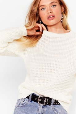 Crew Neckline and Ribbed Edges Knit Sweater - Cream
