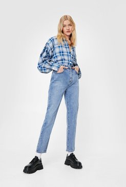 Straight Talking High-Waisted Jeans - Mid Blue