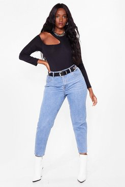 Debbie High-Waisted Plus Mom Jeans - Light Blue