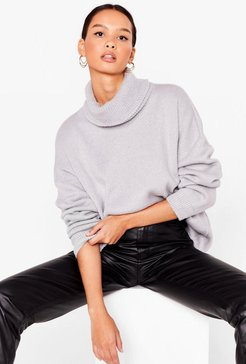 Show 'Em How Knits Done Turtleneck Sweater - Grey