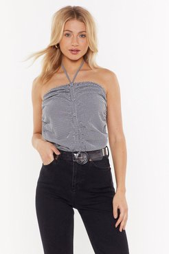 Gingham Button Down Ruched Body - Black