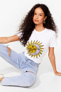 Sun and Moon Graphic T-Shirt with Crew Neckline - White