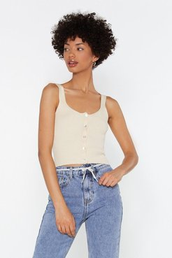 Mother Of Pearl Rib Knitted Cami Top - Ecru