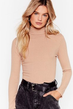 Roll With It Ribbed Turtleneck Sweater - Stone