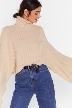 Turtleneck Oversized Sweater - Biscuit