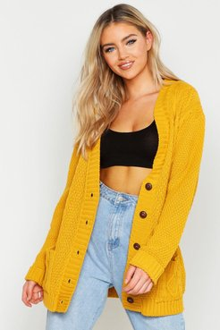 Cable Boyfriend Button Up Cardigan - Yellow - S/M