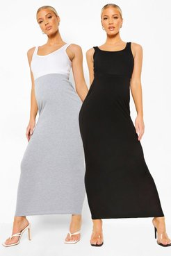 Maternity 2Pack Over The Bump Maxi Skirt - Black - 4