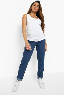 Maternity Roll Hem Over The Bump Boyfriend Jeans - Blue - 4