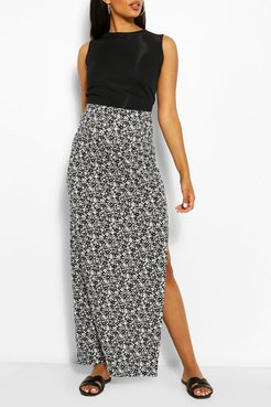 Maternity Ditsy Floral Side Split Maxi Skirt - White - 12