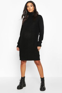 Maternity Turtleneck Sweater Dress - Black - S