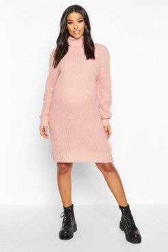 Maternity Turtleneck Sweater Dress - Pink - S