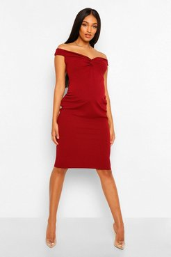 Maternity Twist Front Off The Shoulder Midi Dress - Red - 12