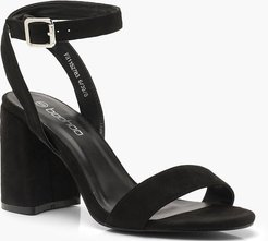 Chunky Block 2 Part Heels - Black - 5