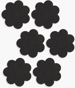 Black Satin Flower Nipple Covers 3 Pack - One Size