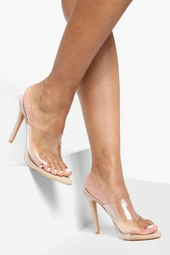 Pointed Toe Clear Mule Heels - Beige - 5