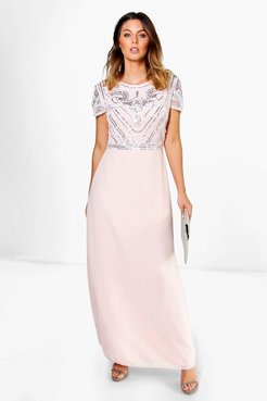 Boutique Sequin Embellished Maxi Bridesmaid Dress - Pink - 6