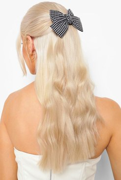 Flannel Bow Hair Clip - Black - One Size