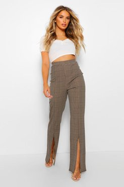 Dogtooth Check Split Hem Fit And Flare Trousers - Beige - 10, Beige