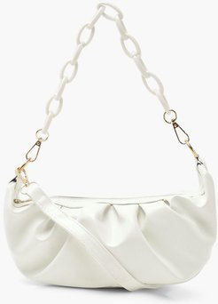 Chain Detail Rouched Under Arm Bag - White - One Size, White