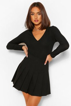 Woven Pleated Super Mini Tennis Skirt - Black - 4