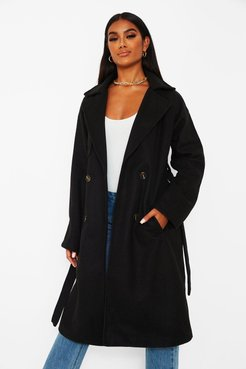 Wool Look Belted Trench Coat - Black - 4