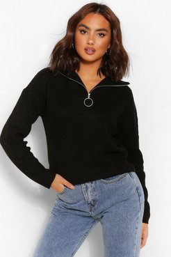 Zip Up Polo Sweater - Black - Xs