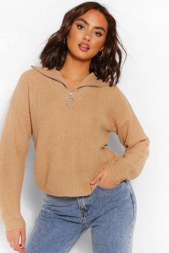 Zip Up Polo Sweater - Beige - Xs