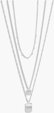 Double Tag Pendant Layered Necklace - Grey - One Size