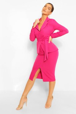 Tailored Split Front Pencil Skirt - Pink - 8