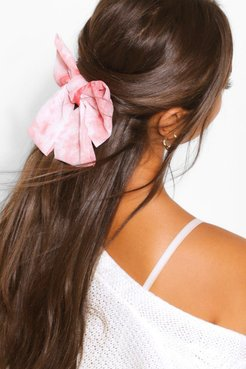 Tie Dye Bow Hair Clip - Pink - One Size