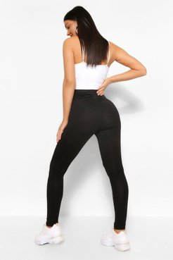 Ruched Bum Booty Boosting Jersey Leggings - Black - 4