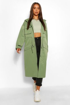 Utility Pocket Hooded Trench Coat - Green - 4