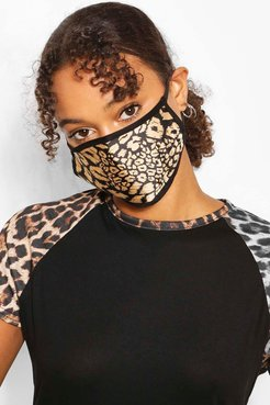 Leopard Fashion Face Mask - Brown - One Size