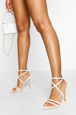 Pointed Toe Strappy Stiletto Heels - White - 5