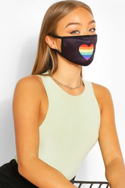 Rainbow Heart Fashion Face Mask - Black - One Size
