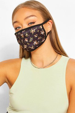 Ditsy Print Fashion Face Mask - Black - One Size