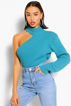 Cut Out One Sleeve Sweater - Green - L
