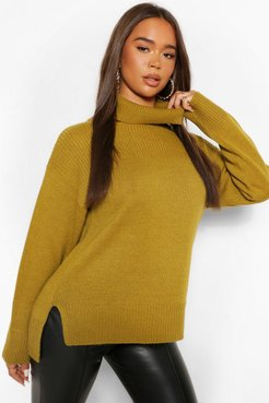 Turtleneck Tunic Length Chunky Sweater - Green - S