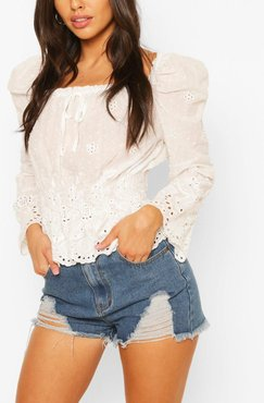 Eyelet Square Neck Blouse - White - 2