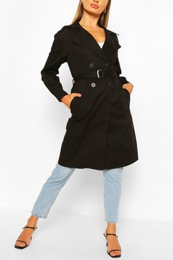 Double Breasted D-Ring Detail Trench - Black - 4