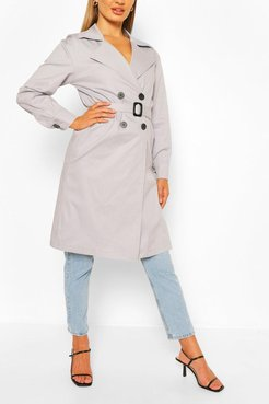 Double Breasted D-Ring Detail Trench - Grey - 6