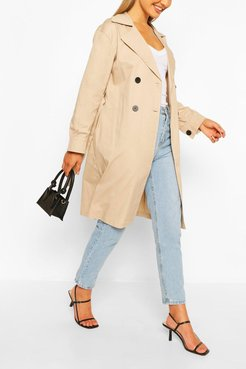Double Breasted D-Ring Detail Trench - Beige - 4