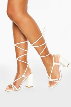 Strappy Knot Detail Block Heels - White - 5