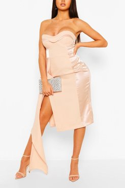 Occasion Satin Panel Cupped Waterfall Midi - Pink - 4