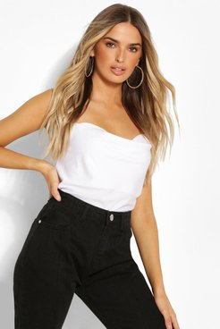 Black Cowl Neck Cross Back Camisole - White - 2
