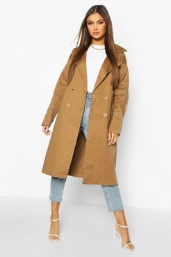 Double Breasted Trench Coat - Beige - 8