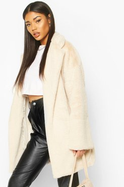 Faux Fur Belted Robe Coat - White - 8